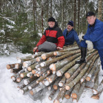 Riukuaitarankakasalla Antti Kesälä, Antti Tuominen ja Matti Laakso.